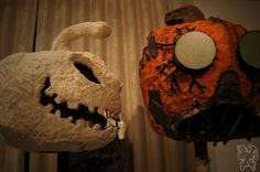 """Large paper clay pumpkins!  On the left is """"Scarecrow"""" in the making and next to him is steampunk inspired """"Nightmare."""""""