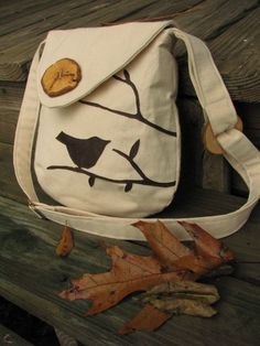 Small Pleasures mini Shoulder Bag in off white Water Repellent canvas with adjustable strap. $59.00, via Etsy.