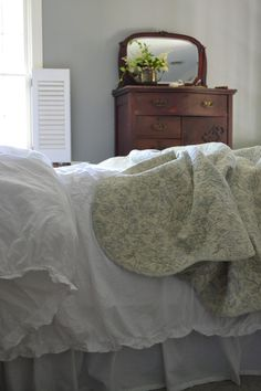 Cottage Fix blog - gray walls and a toile quilt