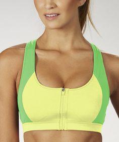 Another great find on #zulily! Lemon Zip-Front Sports Bra - Women #zulilyfinds