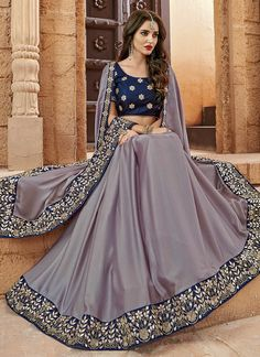 Lavender and Blue Embroidered Silk Saree features a nylon silk saree alongside a velvet blouse. Embroidery work is completed with zari, thread and stone embellishments. Classic Indian Sarees CLICK VISIT link above for more options Pakistani Dresses, Indian Sarees, Indian Dresses, Indian Outfits, Saris, Crepe Silk Sarees, Satin Saree, Lehnga Dress, Lehenga Gown