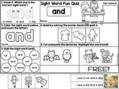 Free/Kindergarten/First Grade/Second Grade/Sight Word Activities/ Kindergarten Reading/Reading Comprehension/ Reading Fluency/Cut and Paste/Printables/ Formatted quiz worksheet, students will have multiple choice question, color, count, dab, cut and paste puzzles, and match the pictures with sentences.