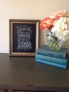 Willy Wonka and The Chocolate Factory Quote hand painted on Chalkboard. via Etsy