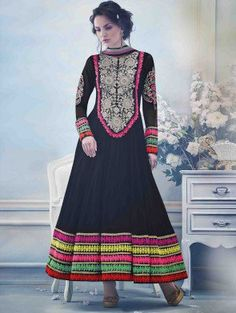 Black Chiffon Anarkali Suit with Embroidery and Handwork
