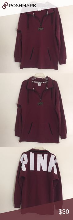 PINK Maroon quarter zip It has a drawstring around the neck but no hood. It has NEVER BEEN WORN! It just wasn't my style and was a Christmas gift. Unfortunately she took the tags off before gifting it to me :/ PINK Tops Sweatshirts & Hoodies