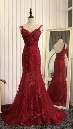 Prom Dresses,Evening Dress,Party Dresses,Formal Dresses,Straps Beads Mermaid Evening Dresses 2017 with Lace Appliques,Red Pageant Gowns