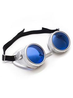 Plastic Silver Goggles   Cyber Rave Burner Goggles