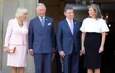 Camilla, Duchess of Cornwall poses with Prince Charles, Prince of Wales, President of Colombia Juan Manuel Santos and the First Lady of Colombia Maria Clemencia Rodriguez Munera at the Presidential Palace for an Official Welcome on October 29, 2014 in Bogota, Colombia. The Royal Couple are on a four day visit to Colombia as part of a Royal tour to Colombia and Mexico. After fifty years of armed conflict in Colombia the theme