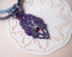Bead crochet necklace rope with micro macrame by MartaJewelry