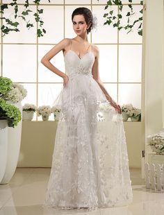 Vestido de novia marfil de seda sintética con encajes y correa