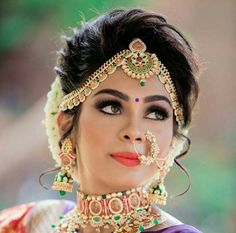 Bride Hairstyles For Indian Wedding Bridal Hairstyle Indian Wedding, Bridal Hair Buns, Indian Wedding Hairstyles, Indian Bridal Makeup, Bride Hairstyles, Ballet Hairstyles, Hairstyles 2018, South Indian Bridal Jewellery, Indian Wedding Jewelry