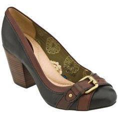 SALE - Womens Fossil Sasha Stacked Heels Black Leather - Was $88.00 - SAVE $19.00. BUY Now - ONLY $69.00.