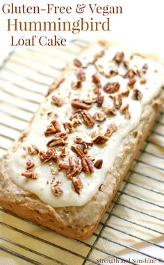 Gluten-Free Hummingbird Loaf Cake (Vegan) | Strength and Sunshine @RebeccaGF666 The sweet and nutty classic Southern dessert now with a gluten-free and vegan recipe! Gluten-Free Hummingbird Loaf Cake topped with a delicious dairy-free cream cheese frosting and packed with pecans, banana, and pineapple!