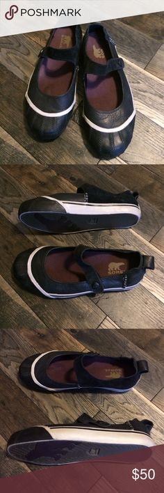 Sorel Mary Janes EUC Sorel Mary Jane Sneakers. Signature Sorel Toe. Leather upper with suede stitched heel and straps. Elastic strap with faux snap that has Sorel detail. Clean & comfortable. Sorel Shoes