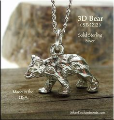 Sterling Silver Bear Charm-A nicely detailed sterling silver bear charm for your bracelet or necklace. Sterling Silver Bear Charm Overall Size : x x = wide x tall x thick Metal : Solid Sterling Silver B Witch Jewelry, Enchanted, Silver Jewelry, Charmed, Bear, 3d, Sterling Silver, Cats, Animals
