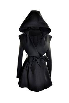 Slim Hooded Black Trench Coat.... HOODS!
