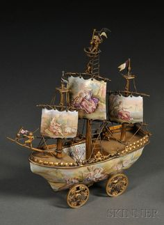 """treasures-and-beauty: """" Miniature Viennese Enamel and Gilt-metal Neff, late century """" Ship Art, Belle Epoque, Silver Enamel, Oeuvre D'art, Vintage Toys, Old Things, Nice Things, Sculptures, Decorative Boxes"""