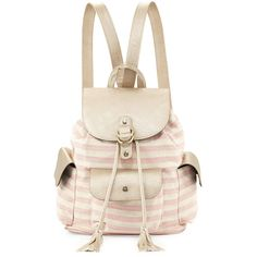 POVERTY FLATS by rian Contempo Striped Canvas Backpack ($49) ❤ liked on Polyvore featuring bags, backpacks, accessories, purses, pink, canvas backpack, pink backpack, canvas knapsack, poverty flats backpack and canvas flap backpack