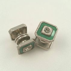 Art Deco Cufflinks Green Snap Cuff Links Snaps by LadyandLibrarian