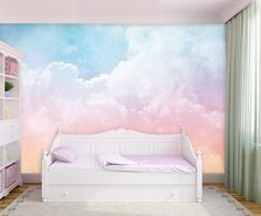 Pink And Blue Clouds Removable Wallpaper Self Adhesive Wallpaper Extra Large Peel & Stick Wal Cloud Bedroom, Bedroom Wall, Bedroom Decor, Kids Wall Murals, Room Wall Painting, Bedroom Themes, My New Room, Vinyl, Girl Room