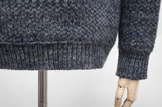 """Navy blue and grey roll neck jumper: Garments made with the makers of the British Isles """"S.E.H. Kelly"""""""