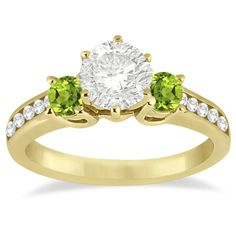 Allurez Three-Stone Peridot & Diamond Engagement Ring 14k Yellow Gold... (1,250 CAD) ❤ liked on Polyvore featuring jewelry, rings, yellow, gold engagement rings, 3 stone engagement rings, yellow gold diamond ring, gold band ring and gold rings