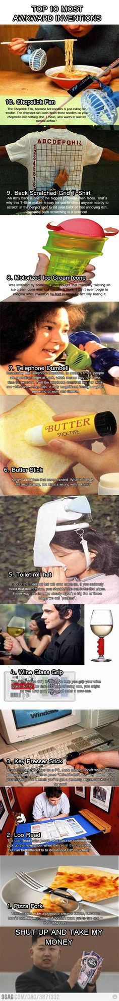 Top 10 most awkward inventions. I kind of want the toilet paper hat. I think Close Close Sassano needs the pizza fork. Stupid Inventions, Awesome Inventions, Creative Inventions, Jamel, Meme Center, Humor, Just For Laughs, Cool Stuff, Funny Stuff