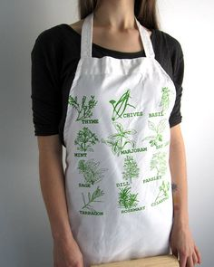 Screen Printed Apron  Natural Cotton Twill  by ohlittlerabbit