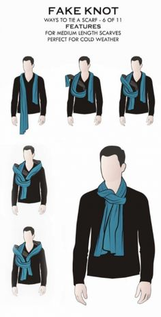 11 male styles to wear men's scarves- 11 männliche Arten, Männer-Schals zu tragen Wrong knot: Suitable for medium length scarves and is perfect in cold weather. Ways To Wear A Scarf, How To Wear Scarves, Men's Scarves, Big Men Fashion, Suit Fashion, Daily Fashion, Mens Style Guide, Men Style Tips, Fashion Infographic