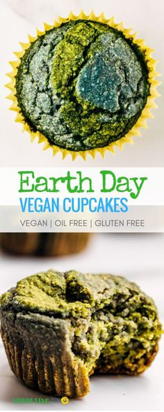 A fun and easy way to celebrate EARTH day! Vegan cupcakes that are oil free, refined sugar free, and gluten free! Vegan Cupcake Recipes, Healthy Vegan Cookies, Vegan Cupcakes, Vegan Treats, Vegan Snacks, Vegan Recipes Easy, Healthy Baking, Vegan Desserts, Raw Food Recipes