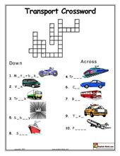 Transport Crosswords and Word Searches from ESL Kids Lab