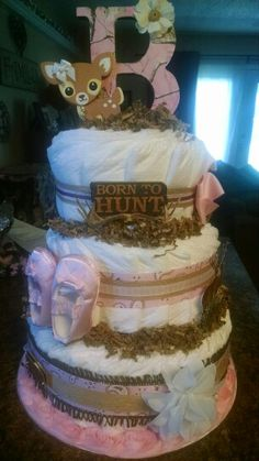 Pink camo hunting diaper cake