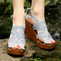 3507b443da2b5 Items similar to Size 8 - High Cherry Wedge RTW Mohop Shoes on Etsy
