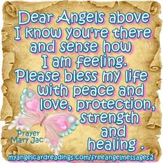 Please bless my life with peace and love, protection, strength and healing. Calling All Angels, Archangel Prayers, Prayers To Mary, Angel Readings, Prayers For Strength, Angel Quotes, I Believe In Angels, Angel Guidance, Healing Words