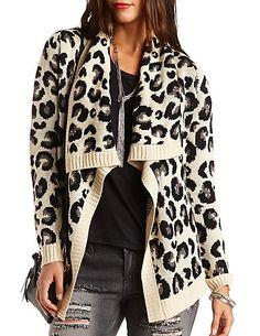 Leopard Cascade Cardigan Sweater