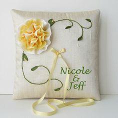 Custom Made Custom Monogrammed Ring Pillow Hand Embroidered Silk Ribbon