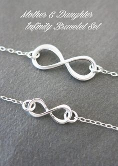 Mother Daughter Infinity Bracelet Set Silver Charm Sterling Chain Forever