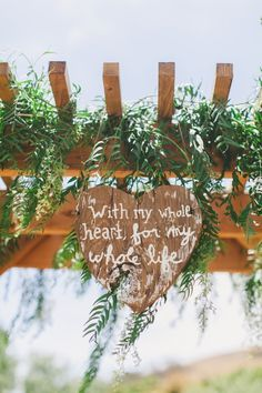 Rustic Wedding Sign I like the idea of plants on the arbor
