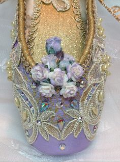Purple and Gold Sugarplum Fairy decorated pointe shoe. Lilac Fairy. Nutcracker Gift. Victorian ballet shoe. Sweet 16 birthday. READY TO SHIP