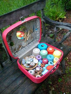 crochet-to-go supplies in a vintage suitcase