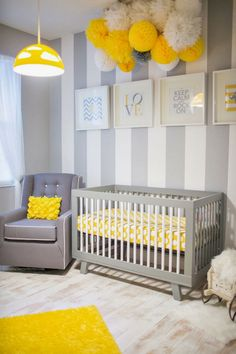 Grey and yellow nursery design, yellow baby room accents