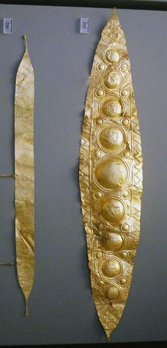 Two gold diadems from Grave Circle A at Mycenae.