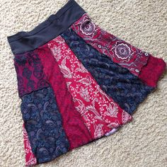 Upcycled Tshirt Skirt Patchwork in Red and by danamurphydesigns