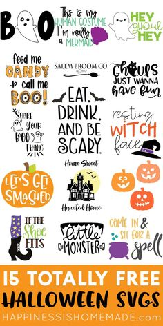 15 Free Halloween SVGs - Its time to Eat Drink and Be Scary with these 15 FREE Halloween SVG files! Halloween Snacks, Halloween Decorations, Diy Halloween, Halloween Garage, Halloween Fonts, Halloween Treat Bags, Halloween Witches, Halloween Season, Happy Halloween