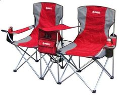 Camping Chairs - Camping Furniture 16038: New Gigatent Red Steel Folding Side-By-Side Double Camping Chair Footrest -> BUY IT NOW ONLY: $58.55 on eBay!