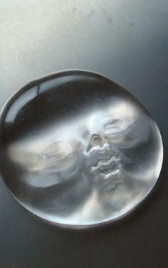 SHINJI NAKABA - sleeping moon brooch - hand-carved acrylic, steel