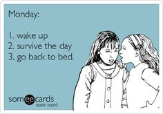 Monday: 1. wake up 2. survive the day 3. go back to bed.
