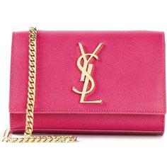 Saint Laurent Small \'Monogram\' Satchel (€1.520) ❤ liked on Polyvore featuring bags, handbags, pink handbags, satchel purses, pink satchel handbags, chain strap purse and monogrammed purses