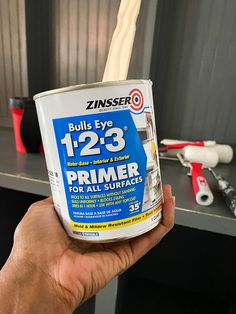 How to Paint Cabinetry and Trim Painted Built Ins, Gallon Of Paint, Best Brushes, Built In Furniture, Sanding Block, Painted Trays, Enamel Paint, Painters Tape, Paint Cans