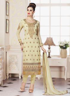 Distinguishable Cream Resham Work Faux Georgette Churidar Designer Suit